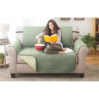 Water-resistant Quilted Reversible Love Seat Cover (Olive/Sage)