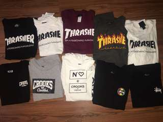 Thrasher, crooks & castle, stussy
