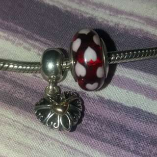 💯Authentic Pandora Heart Openwork two tone pendant and Red and white hearts murano charm