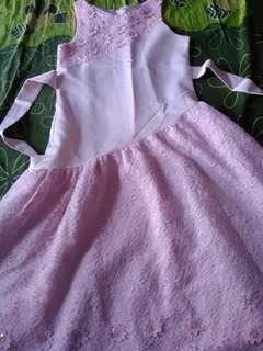 Dress Pesta Gaun Ulang Tahun Brukat Tile Anak Perempuan Pink