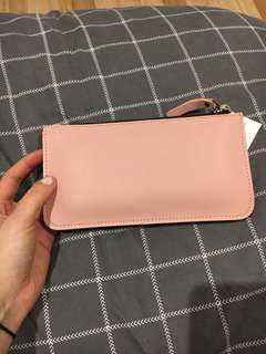 Pink fake suede purse