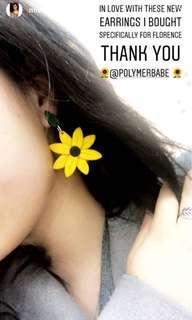 Sunflower polymer clay earrings