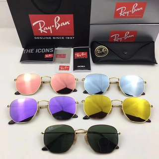 Rayban Sunglasses Hexagonal Flat Lenses Gold RB3548N brand new full packages original made in Italy