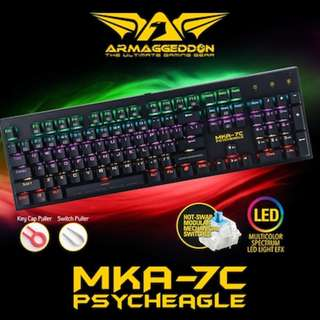 Limited Offer! Armaggeddon Mechanical Keyboard (Psycheagle) MKA 7C. Adjustable Lighting EFX Speed / High Quality Blue Mechanical switches / KevlarTech™ Concave Keycaps w Lifetime Fade Proof Warranty!