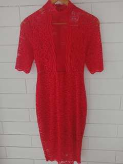 Red Lily Lace Dress