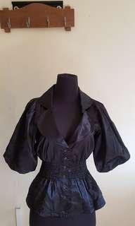 Rebecca Taylor black glossy top