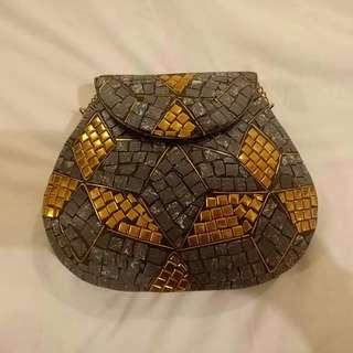 Delhi Bag Large Size Grey gold Mosaic