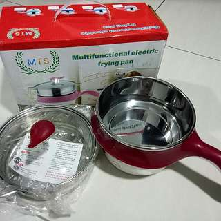 Multifunction mini electic cooker- Stainless steel two layer red 不绣纲多功能迷你电煮锅