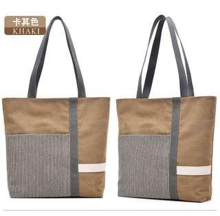 🚚 【Q夫妻】 shoulder bag 簡約 撞色 大容量 手提包 帆布包 休閒包 單肩包 女包 卡其色 #B0509-3