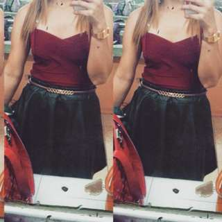 Maroon crop and Leather skirt