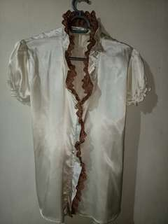 Two tone Ruffled satin office blouse (Off White/brown)