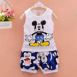 Mickey Mouse sleeveless top+short pant Set