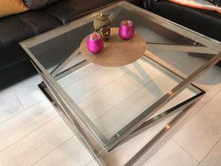 Chrome and glass centre/coffee table