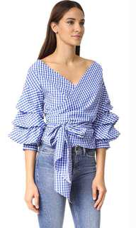 Zara checkered wrap top