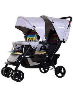 Double stroller - assembled| used only once | good steal!