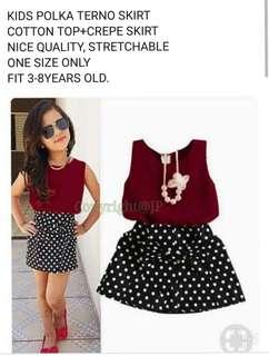 Kids terno 3-8 yrs old cotton top crepe skirt 180
