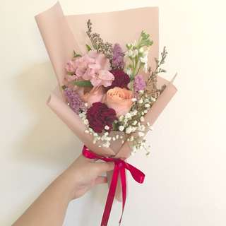 Peach Roses with Burgundy Carnations and Baby Breath / Graduation Bouquet / Birthday Bouquet