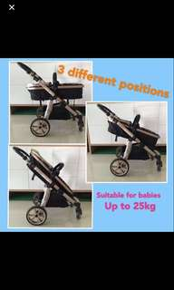 Sturdy Stroller with bassinet