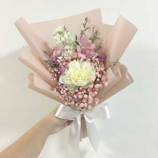 White Peony with Pink Baby Breath and Mix Fillers