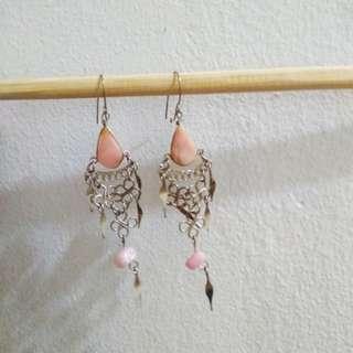 Genuine rose quartz earrings
