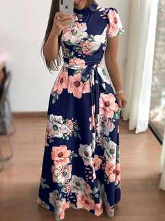BNWT Navy Blue Floral Print Maxi Dress