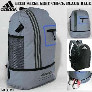 Tas ransel adidas tech steel grey check black blue
