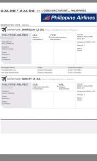 2 PAL RT tickets (MNL-CEB-MNL) 1M 1F