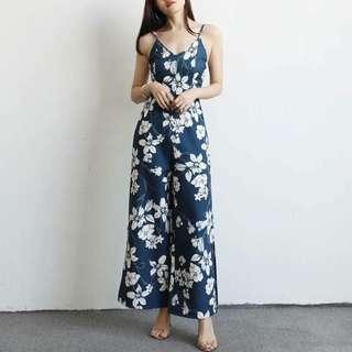 Floral Zippered Jumpsuit