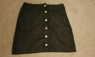 Pretty Little Thing Suede Button Up A-Line Mini Skirt