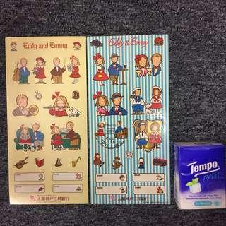 Sanrio 1990年 The Vaudeville Duo, Eddy and Emmy 非賣品 絶版 貼紙 $45@