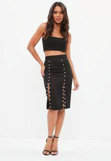 Black Pearl Missguided Pencil Skirt with slits