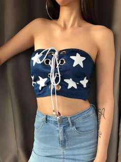 ALICE SELECT 歐美妞必備 美國🇺🇸星星胸前綁帶平口背心