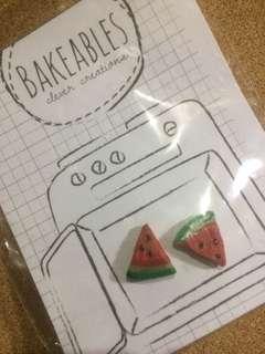 Watermelon polymer clay earrings