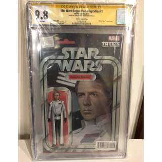 CGC SS 9.8 Star Wars Rogue One Adaptation #1 Director Krennic Action Figure Variant Signed by John Tyler Christopher