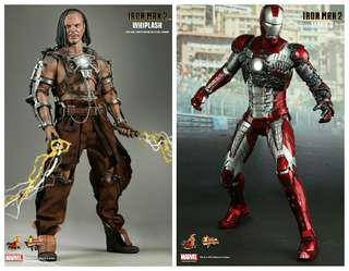 COMBO SET HOT TOYS MARK V MMS145 HOT TOYS WHIPLASH MMS121 (1.0) MARK 5 IRONMAN 1/6 SCALE COLLECTIBLE FIGURE. BIB. RARE.!!!