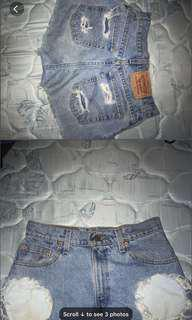 Levi's distressed shorts 6-8