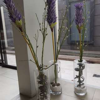 Set of 3 Tall Vases with Flowers