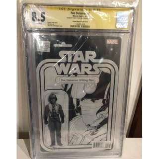 CGC SS 8.5 Star Wars Poe Dameron #1 Poe Dameron X-wing Pilot Action Figure Variant Signed by John Tyler Christopher
