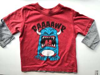 PRELOVED H&T Boy's RAAAAWR Cartoon Monster Maroon Red Long Sleeves T-shirt - in average condition with flaw