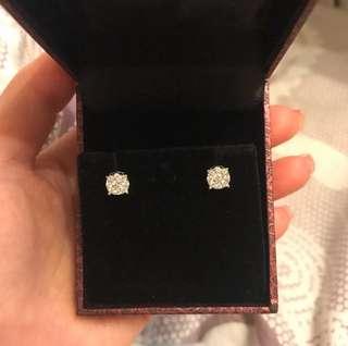 18K 白金鑽石耳環💎