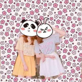 🚚 粉嫩黃條紋連身裙