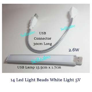 2.6W USB Led Lamps : Portable Reading Light Strip Sellzabo White Colour Bulb 14 Led Light Beads