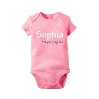 Customize Short sleeve Pink Baby Bodysuit