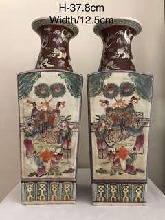 A pair of Porcelain Famille-verte vases