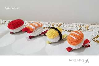 🚚 Handmade Mini Sushi Hairclip Hair Clip Special Kid Children Gift