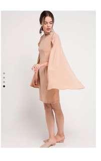 (X)sml cape dress nude