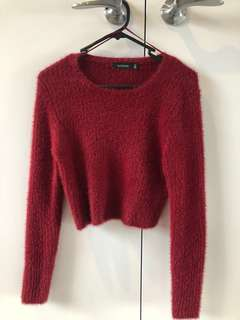 Red fluffy knit