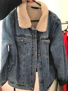 Denim Jacket Faux Fur Collar