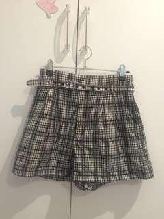 Grey checked high waisted shorts