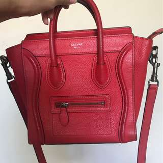Celine Nano Luggage Red Orange